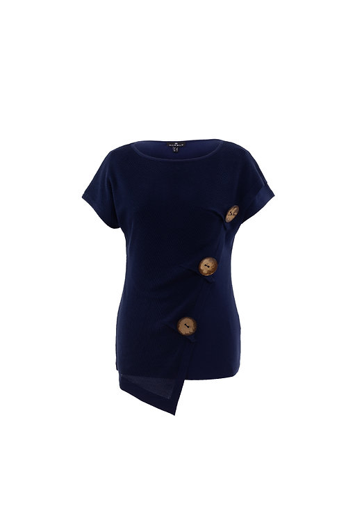 Marble of Scotland 3- Button Navy Cap Sleeve Top with Layered Panel Front