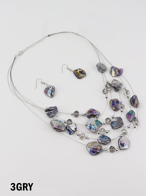 Opalescent Grey Shell Illusion Necklace & Earrings Set