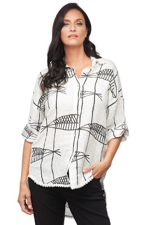 """Carre Noir """"Fish Print""""  Linen Shirt"""