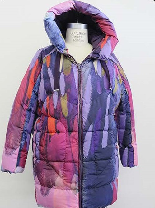 """Clusters of Conversations"" Cocoon Parka Coat with Hood"
