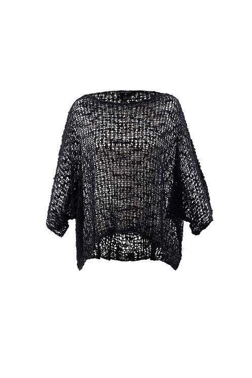 Black Crochet One Size Sweater