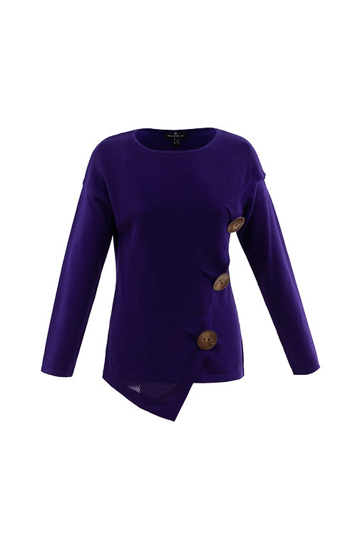 Purple draped Front Crew Neck Sweater with 3 Button Detail