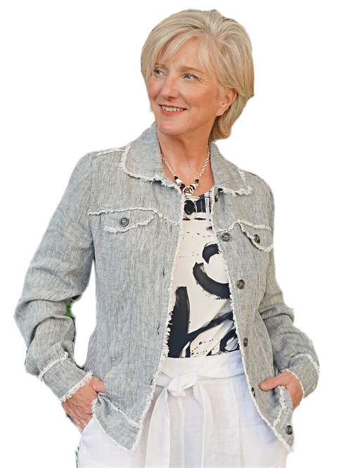 Fringed-Edged Grey Linen Jean- Style Jacket