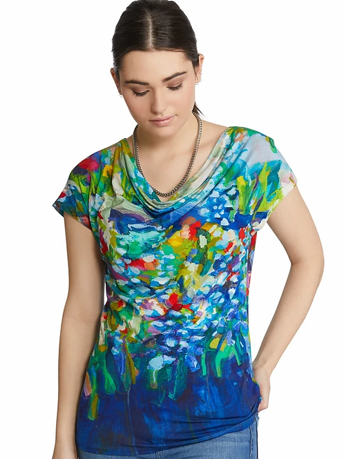 """Full Bloom"" Draped neck Top with Cap Sleeves"