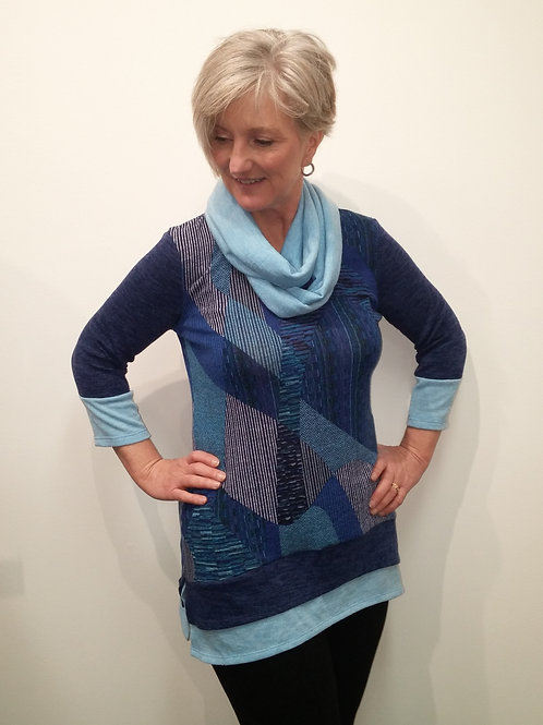 Blue Geometric A-Line Tunic