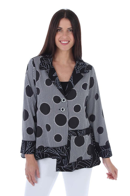 Black and White Dots and Leaves Shirt Jacket