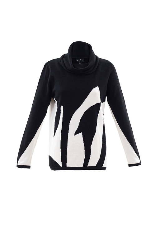 Black and Winter White Abstract Cowl Neck Sweater