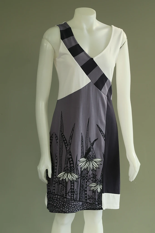 Leopards & Roses Grey and White Coneflower Sleeveless Dre