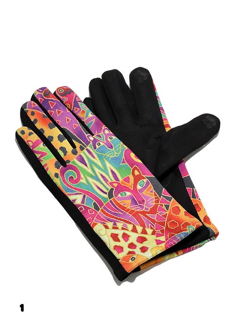 """""""The Painted Leopard"""" Faux Suede Gloves"""