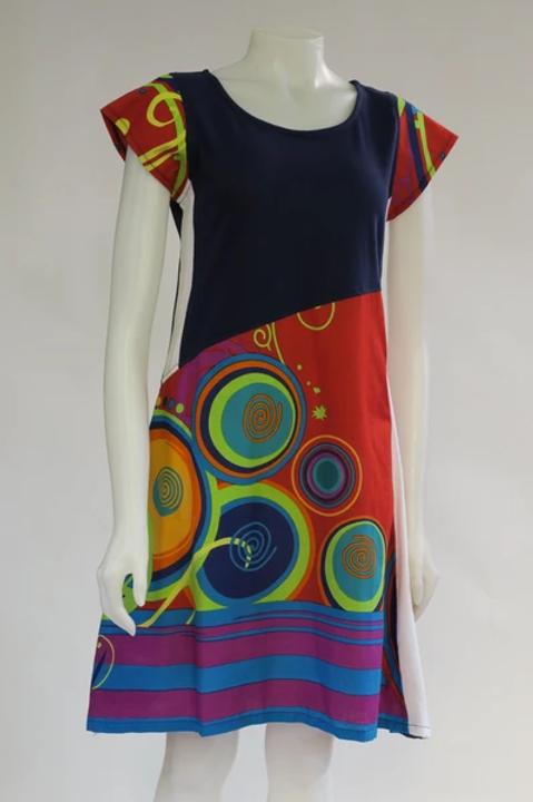 Circles & Stripes Cap Sleeve Dress