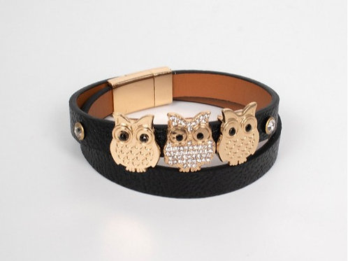 Black Owls Wrap Bracelet