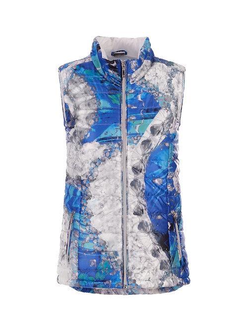 """Dolcezza """"Blue & White Yin Yang Symbol"""" Quilted Puffer Vest"""