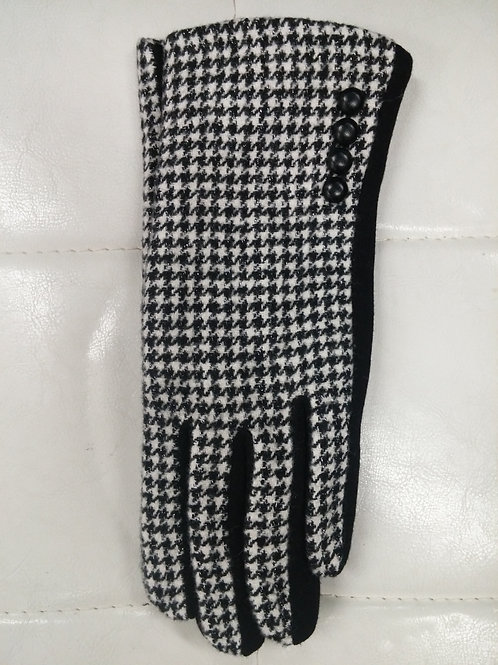 Black and White Houndstooth Gloves