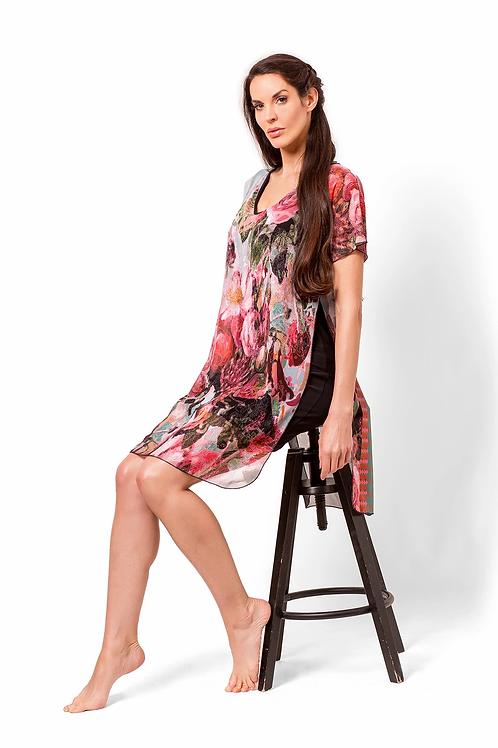 Rose Print Chiffon Overlay Tunic/Dress