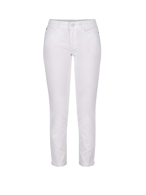 Dolcezza White Jeans with White Crystal-Embellished Hem