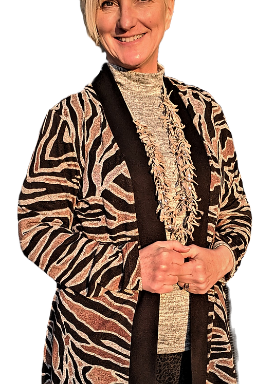 Tiger Print Banded cardigan