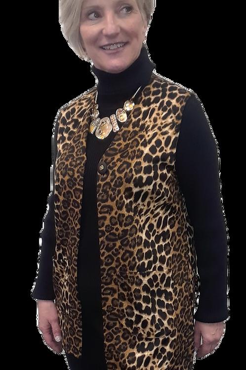 Leopard Print Long Vest