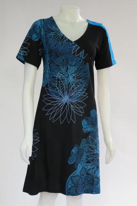 Turquoise Mandala Short Sleeve Dress