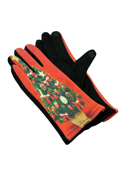 Christmas Tree Stretch Suede Gloves