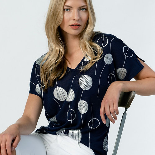 Midnight Blue Top with Silver Circles, Dolman Sleeve, V-Neck