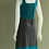 Thumbnail: Leopards & Roses Teal and Slate Grey Coneflower Sleeveless Dress