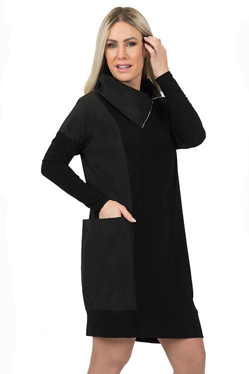 Black Jersey/Taffeta Dress with Oversized Collar