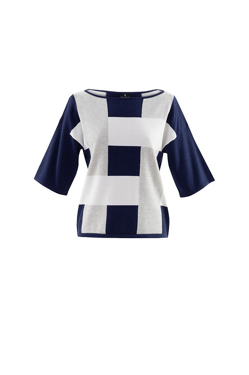 Midnight Blue/White/Grey Colour Block Sweater