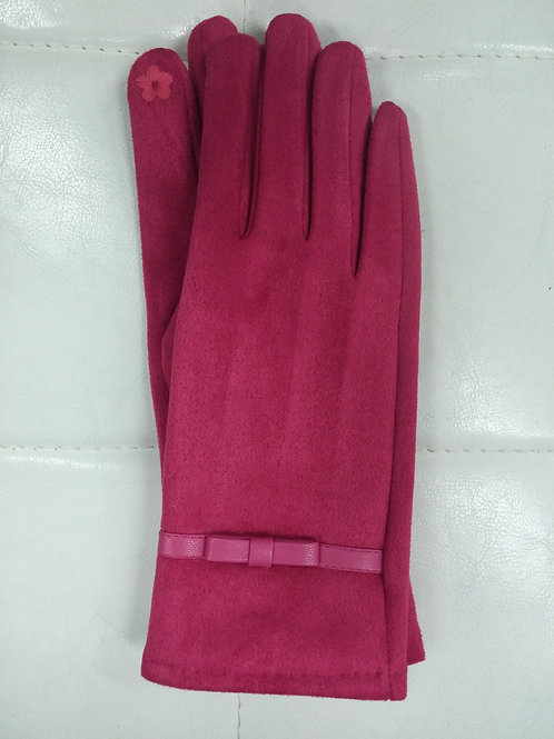 Fuchsia Faux Suede Gloves