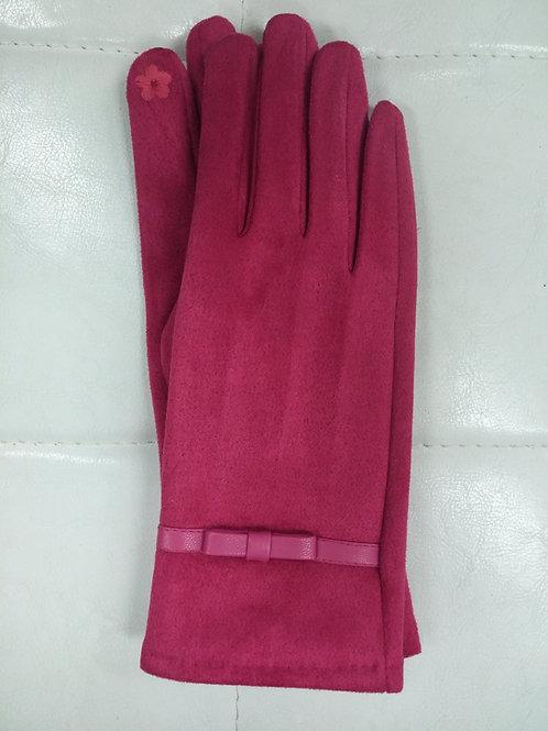 Fuchsia Faux Suede Gloves
