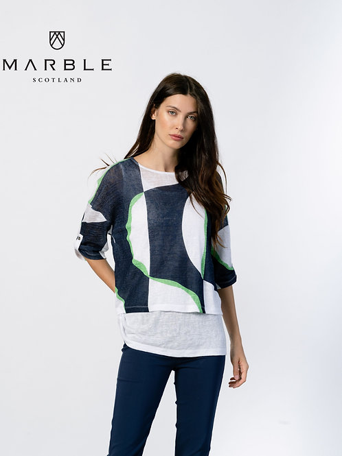 Marble of Scotland Navy & White Op-Art Top with Long White Tank  2-Piece Set