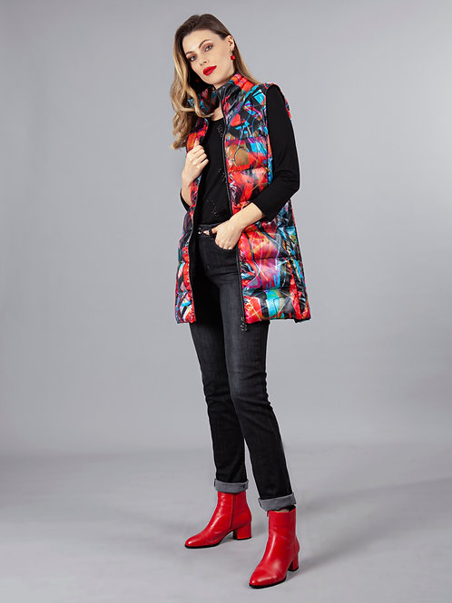 """""""Red 3"""" Long Puffer Vest"""