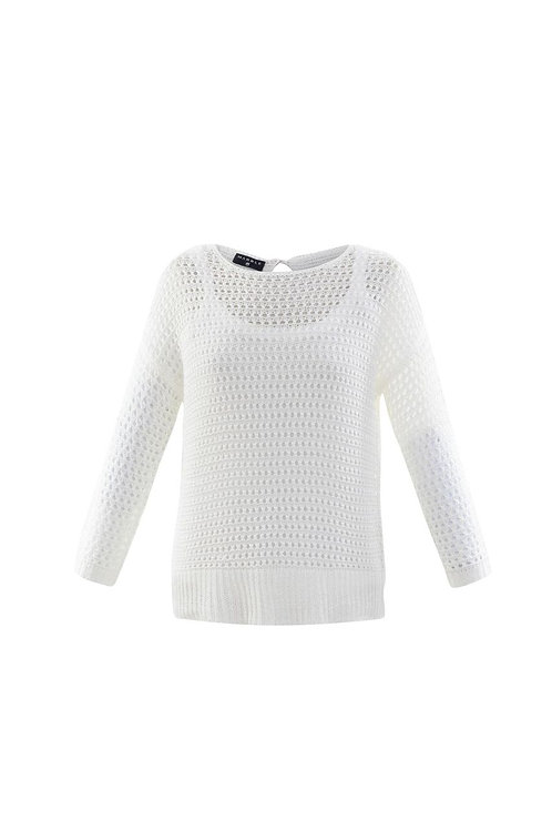 2- piece White Open Back Crochet Sweater with Tank Top