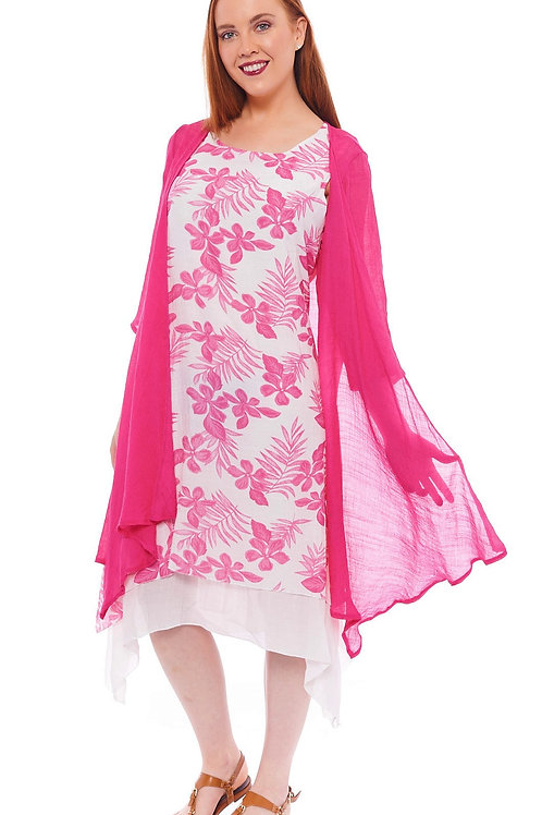 Miss Nikky Fuchsia and White Layered Floral Dress and Fuchsia Cardigan