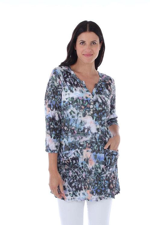 Melange Print Crinkle Tunic
