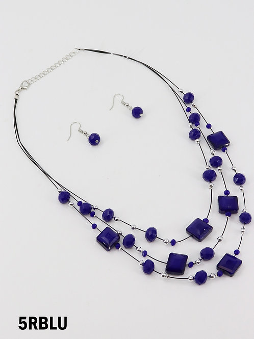 Royal Blue Square Cut Crystal Illusion  Necklace & Earring Set