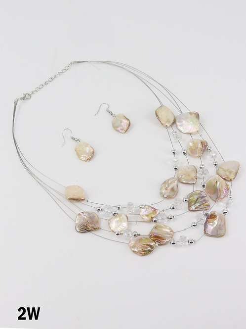 Natural Shell Illusion Necklace & Earrings Set