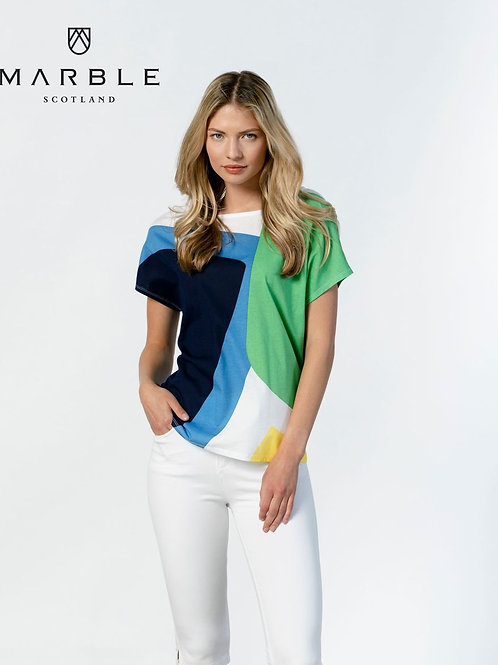 Marble of Scotland Blue, Green, White Dolman Sleeve Top