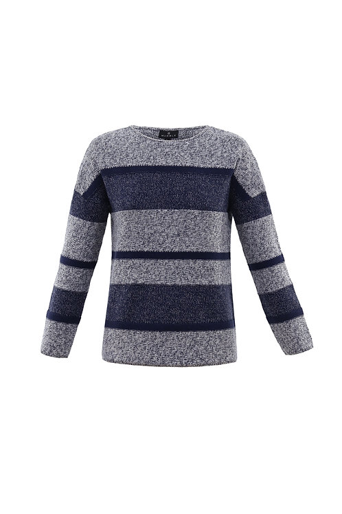 Denim blue and winter White Striped Crew Neck Sweater