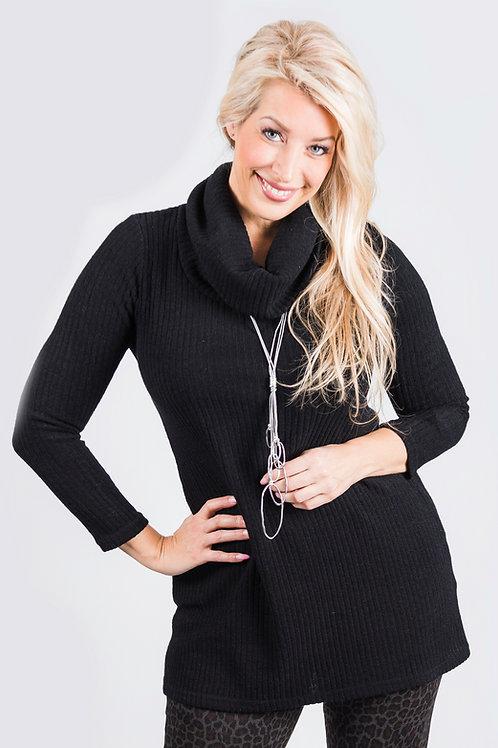 Black Rib Sweater Cowl Neck Tunic
