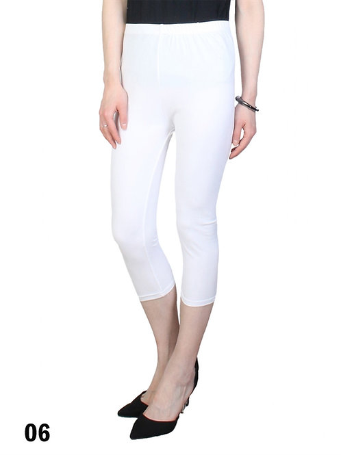 White Silky Capri Leggings