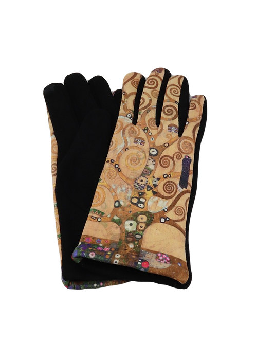 "Klimt, ""Tree of Life"" Stretch  Suede Gloves"