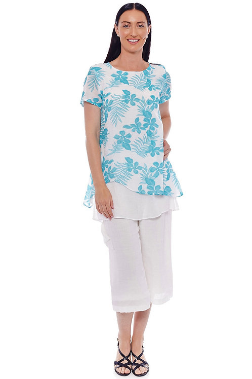 Miss Nikky Aqua and White Layered Floral Tunic