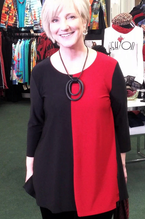 2-Tone Cranberry/Black A-Line Tunic Top