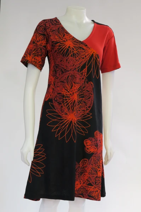 Red Mandala Short Sleeve Dress