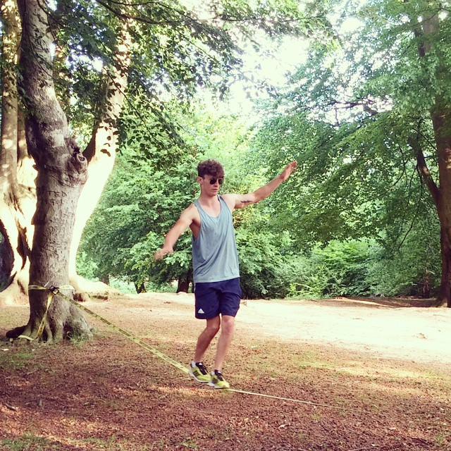 Summertime Slackline _) Big Friday night 🙈 #slackline #eppingforest #summer #chill