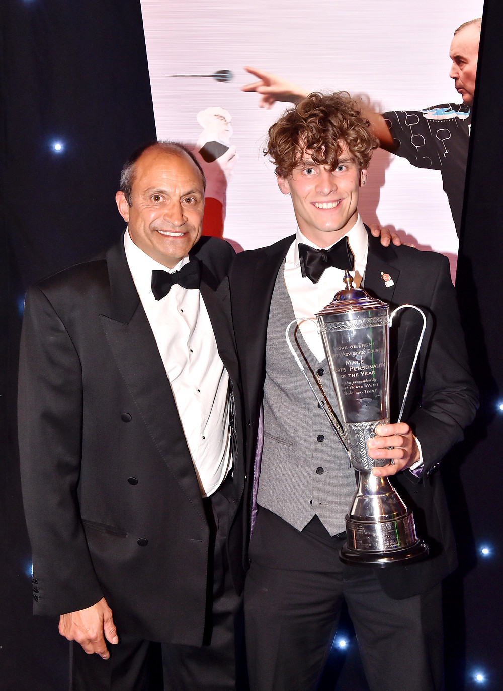 Collecting Stoke-on-Trent Sports Personality of the Year Award at King's Hall, Stoke-on-Trent.