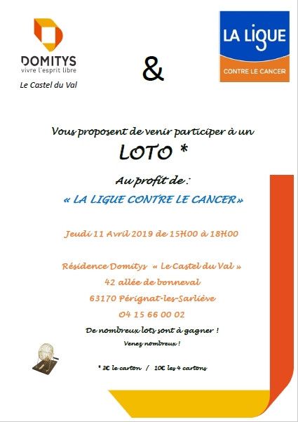 Loto au profit de la Ligue Contre le Cancer, 11 avril 2019