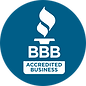 Dark blue circle with the Better Business Bureau logo in it in white