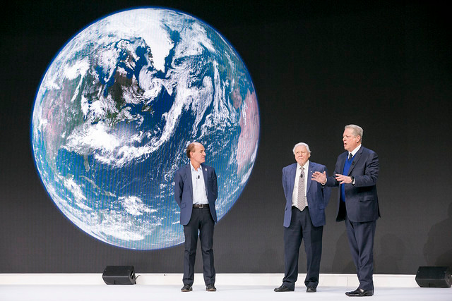 Marco Lambertini, Sir David Attenborough, and Al Gore at a special screening of 'Our Planet' in Davos, 2019 https://www.flickr.com/photos/worldeconomicforum/32965664278