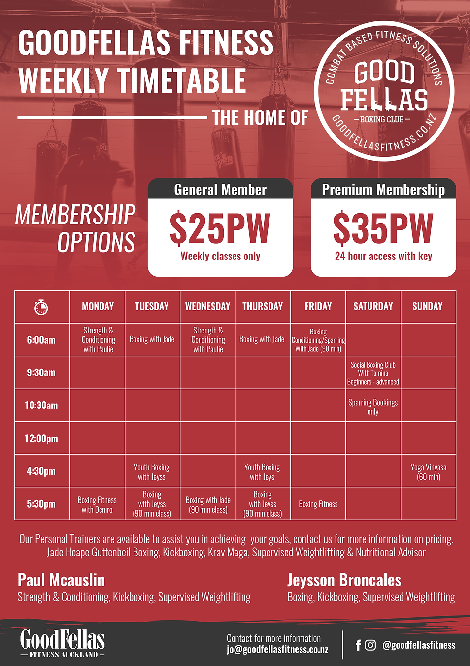 Goodfellas Fitness Auckland Weekly Timetable
